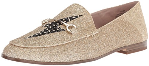 Nine West Women's WILDGIRLS Synthetic Loafer Flat, Light Gold Synthetic