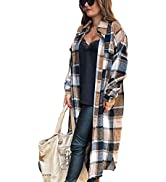 Himosyber Women's Casual Plaid Lapel Woolen Button Up Pocketed Long Shacket Coat