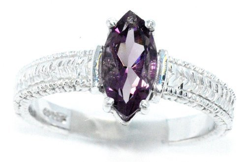 - Created Alexandrite Marquise Ring .925 Sterling Silver Rhodium Finish