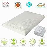 HAIPAI Latex Pillows Foam Slim Thin Low Anti Snore Deep Sleep Luxurious Comfort Natural Ventilated Medium Hardness Ventilated Profile for Children Aged 3-10