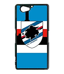 Uc Sampdoria Sony Z2 Compact Funda Case, Football Club Protection Unique Pattern Rugged Drop Resistant Hard Plastic Vintage Fit for Sony Xperia Z2 Compact (Only For Sony Z2 Compact)
