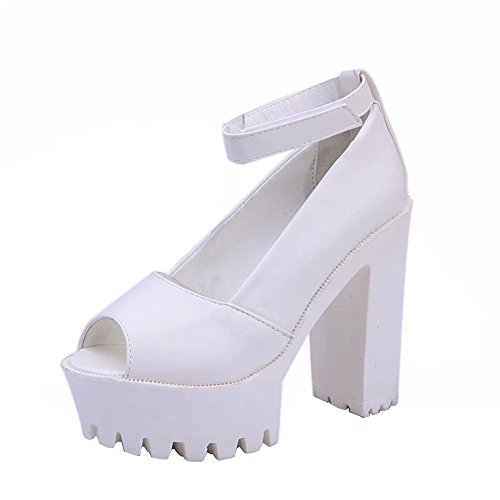 Shoes For Womens -Clearance Sale ,Farjing Fashion Women Peep Toe Platforms High Heels Sandals Buckle Slope Leisure Shoes(US:5,White) by Farjing
