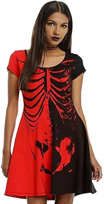 Vestido de Manga Corta, Disfraz de Esqueleto de Halloween para ...