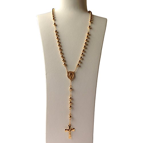 - J.Shine Unisex 6mm Bead 18k Gold Tone Stainless Steel Catholic Rosary Necklace Crucifix Pendant & Chain 28
