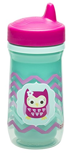 Zak Designs Toddlerific Perfect Flo Spout Toddler Cup with Green Owl, Double Wall Insulated Construction and Adjustable Flow Technology, Break-resistant and BPA-free Plastic, 8.7oz (Insulated Sippy Cup Owl compare prices)