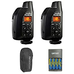 PocketWizard 801-130 Plus III Transceiver 2 Pack With Case and 4-Hour Rapid Charger with 4 AA NiMH Rechargeable Batteries Bundle
