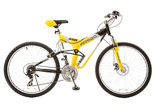 Alloy Dual Suspension - Titan #135 Glacier PRO Alloy Dual Suspension All Terrain 21-Speed 19-Inch Frame Mountain Bike, Yellow/Black, Large