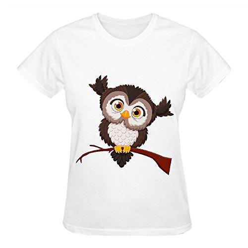 Owl 2 Ljm Crew Neck Tee Shirt Women White