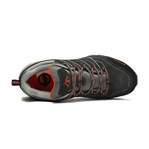 Gomnear Bottes De Randonnée Hommes Trekking Chaussures Bas Top Hiver Extérieur Antidérapant Escalade Sneakers Gris