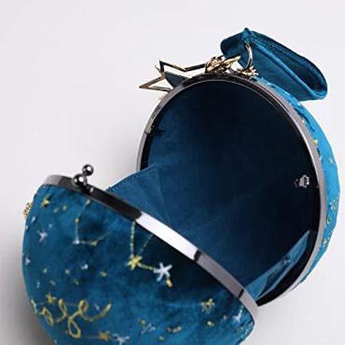 Borsa Sfera Tonda Unico Personalità Cielo Blue A Velluto Borsetta Cellulare Stellato Per A6p77q