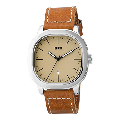 EDWIN EW1G016L0034 Men's Anderson Brown Leather Band Beige Dial Watch