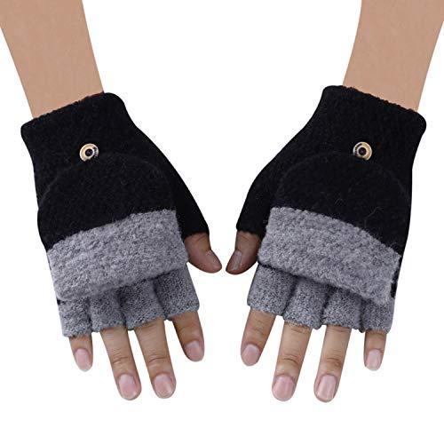Crazy-Shop Men Knitted Fingerless Gloves Autumn Winter Warm Patchwork Flip Mittens Fashion Male Half Finger Gloves Guantes Gants ()