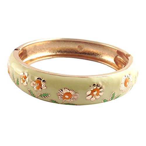 UJOY Enamel Bangle Golden Colored Cuff Spring Hinge Wide Bracelets Jewelry Box for Women 55C