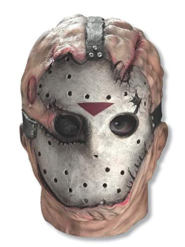 Friday The 13th Jason Voorhees Deluxe Overhead Mask, Gray, One Size]()