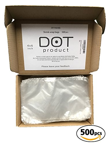 Heat Shrink Wrap Bags Polyolefin (POF) nonToxic Odorless 500pcs useble with Heat Gun or Hair Dryer perfect for Soap, Bath Bombs, Bottles, Arts Crafts & homemaking and other small items (4x6 Inch)