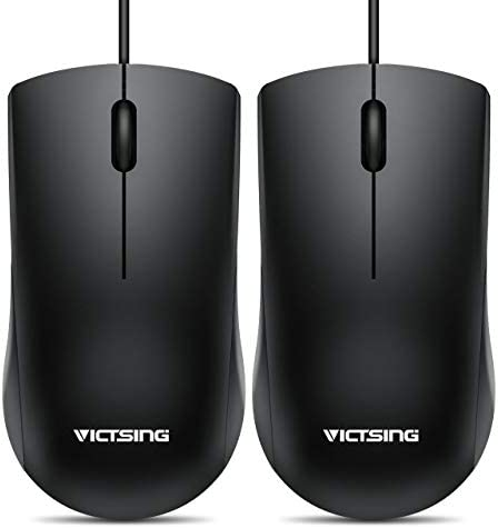 VicTsing Wired Mouse, 3-Button Ergonomic Computer Mouse for Right or Left Hand, 2 Pack Corded USB Mouse for PC, Computer, Laptop, Desktop, Chromebook, Notebook, Mac (Black)