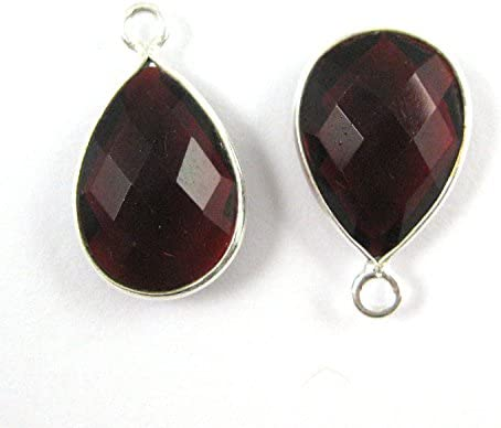 2pcs Bezel Gem Pendant Sterling Silver Garnet-Small Teardrop-10x14mm
