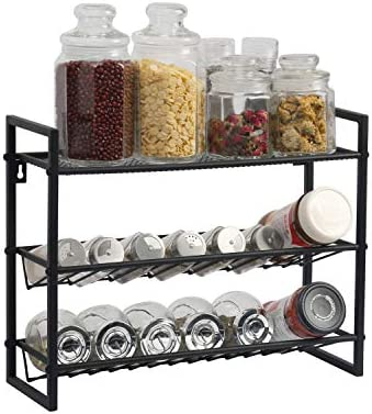 OROPY 3 Tier Standing Countertop Spice Rack, Kitchen Countertop Standing Seasoning Rack, Spice Jars Bottle Storage Holder Metal, Black