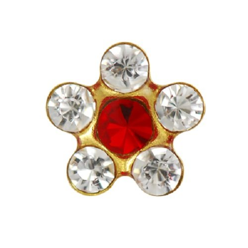 Personal Piercer Crystal July Ruby Daisy Gold Includes After Ear Care Gel, Surgical Marker, Alcohol Pads, Full Instructions. Same as malls, no Need for Gun/Instrument. ()
