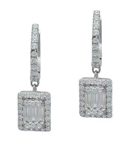 925 Sterling Silver Baguette Cubic Zirconia Unisex Hoop Dangling Earrings