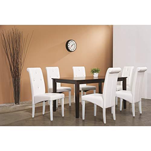 Warehouse of Tiffany Jewel 7-Pcs Dining Set 288960WHT(6)+1429131
