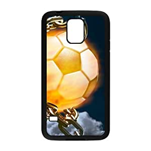 wugdiy DIY Protective Snap-on Hard Back Case Cover for SamSung Galaxy S5 I9600 with Fire Football Soccer ball