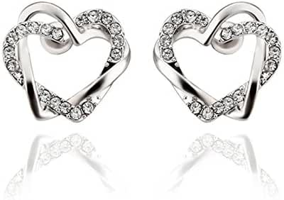 Fashion White Crystal Double Love Heart Platinum Plated Stud Earrings Women-Guillermo B.Randle