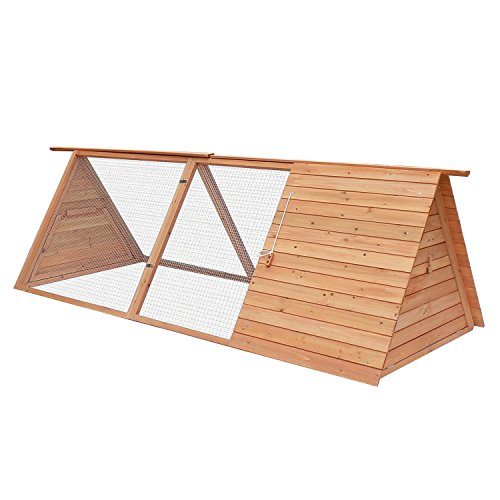 Pawhut-Triangle-A-Frame-Wooden-Rabbit-Hutch-Animal-House-and-Shelter