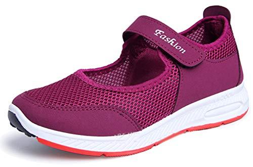 Femaroly中年マザーウォーキングシューズメッシュ激しいスポーツシューズ夏の女性のカジュアルアウトドア通気性靴