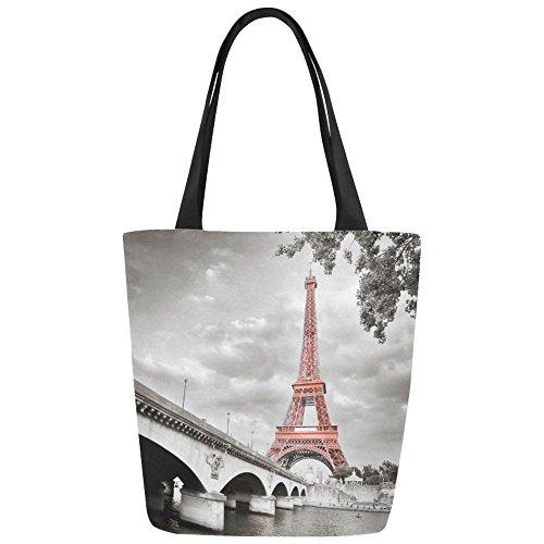 Women Girl Canvas Travel Handbag Shoulder Shopping Bag Paris Eiffel - 3