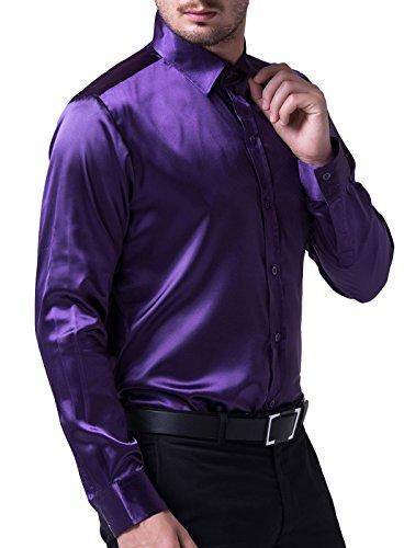 [PAUL JONES Mens Silk Like Dress Shirts Luxury Purple(L)] (Sexy Purple Dress)