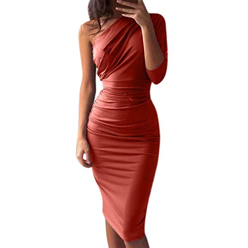 Finedayqi  Woman Dress,Sexy Womens Pure Color Party Fashion Dress Ladies Holiday Knee-Length Dress Wine