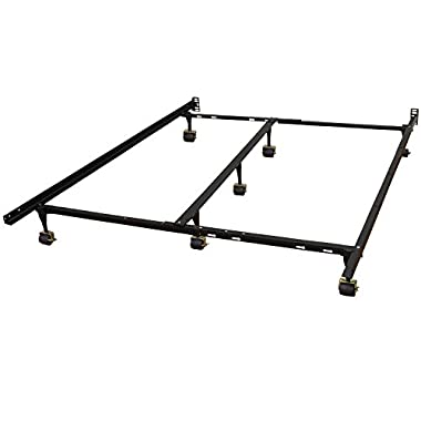 Hercules Universal Heavy Duty Adjustable Metal Bed Frame with Double Rail Center Bar and 7-Locking Rug Rollers, Queen/Twin/Twin X-Large/Full/Full X-Large/King/California King, Black