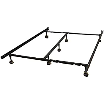 hercules universal heavy duty adjustable metal bed frame with double rail center bar and 7 locking rug rollers queentwintwin x largefullfull
