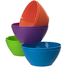 Fresco 28-ounce Plastic Cereal/Soup Bowls | set of 8 in 4 Assorted Colors