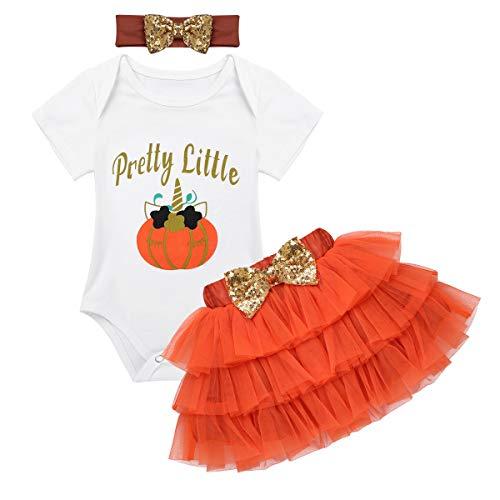 Alvivi Kids Baby Girls Halloween Cartoon Pumpkin Cosplay Role Play Romper Costumes with Headband Orange 0-3 Months -