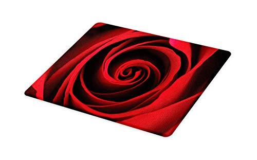 Sweetheart Roses Block - Lunarable Rose Cutting Board, Rose Sweetheart Valentine Sensual Romantic Fragrant Love Symbol Close Up Picture, Decorative Tempered Glass Cutting and Serving Board, Large Size, Black Vermilion