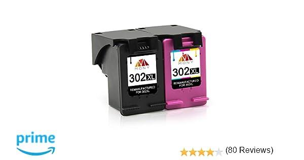 Mony Remanufacturado Cartuchos de Tinta Reemplazo para HP 302 XL 302XL (1 Negro, 1 Tricolor) Compatible con HP Envy 4520 4527 4524 Deskjet 3630 2130 ...