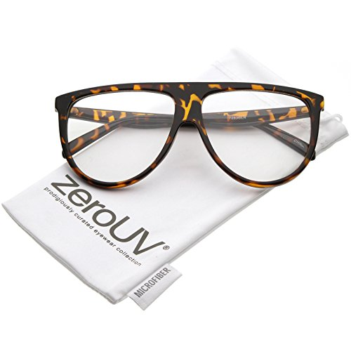 zeroUV - Oversize Bold Flat Top Clear Lens Aviator Eyeglasses 60mm (Tortoise / Clear)