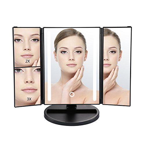 Makeup Mirror, Tri-fold Vanity Mirror with Light, Cosmetic Mirror with 3x/2x/1x Magnification, Sensor Touch Control, 180 Degree Rotation, Battery and USB Powered (Black)