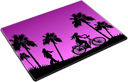 MSD Place Mat Non-Slip Natural Rubber Desk Pads design: 39148230 Tall palm trees a girl on a bike and another who is walking in the sunset