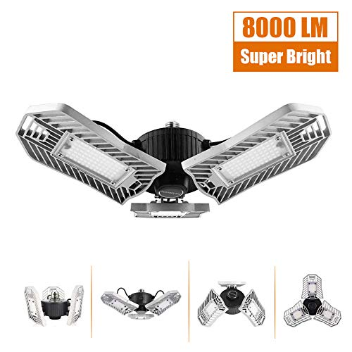 Garage Lighting 80W,Led Garage Lights 8000lm, E26 Garage Light, LED Basement Ceiling Lights, Led Shop Lights, Workshop Light, Garage led Bulbs, Super Bright led Bulbs Light (Daylight, 80W