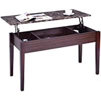Tangkula Coffee Table Home Faux Marble Lift Top Storage Rectangular Cocktail Table