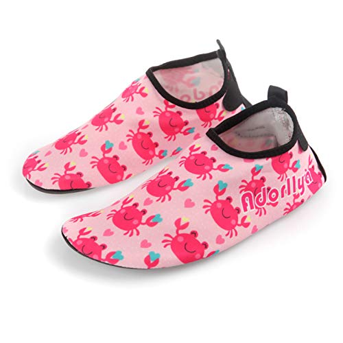 Adorllya Water Shoes Aqua Socks Water Socks Swim Shoes for Kids Toddlers Boys Girls,Pink Crab,6-6.5M Toddler