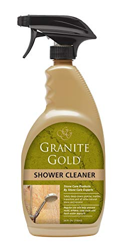 Granite Gold Shower Cleaner Spray - Stone Shower Cleaning Solution For Marble, Travertine, Quartz, Tile - 24 Ounces