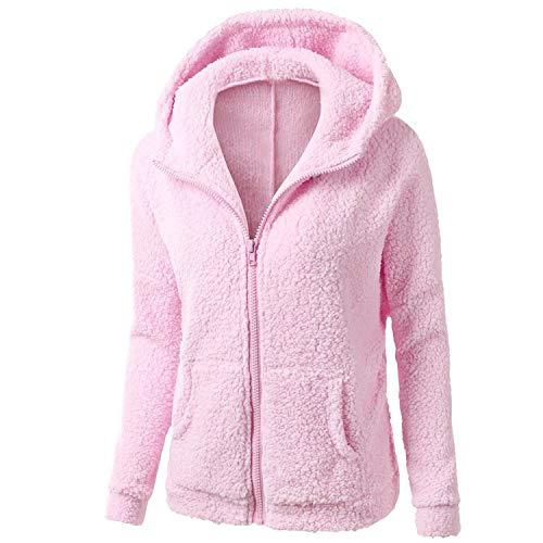 (colorful-space Faux Lambswool Oversized Black Warm hairly Jacket Women Autumn Outerwear 2018 New Overcoat,Pink,4XL)