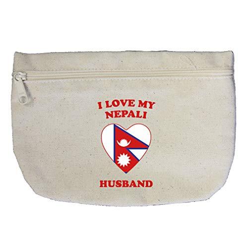 Nepali Cotton - I Love My Nepali Husband Cotton Canvas Makeup Bag Zippered Pouch