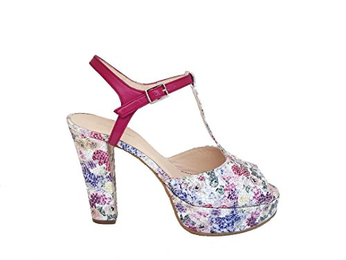 GENNIA India - Women´s Leather Sandals Open Toe and Slingback with Platform and Block Heel 2YbZk3