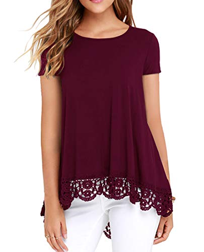 QIXING Women's Tops Short Sleeve Lace Trim O-Neck A-Line Tunic Blouse Wine Red-L