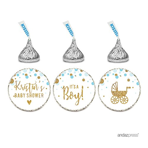 (Andaz Press Light Blue Gold Glitter Boy Baby Shower Party Collection, Personalized Chocolate Drop Label Stickers Trio, 216-Pack, Custom Name, Fits Hershey's Kisses Party Favors)